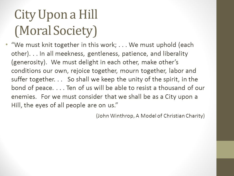 City Upon a Hill (Moral Society)