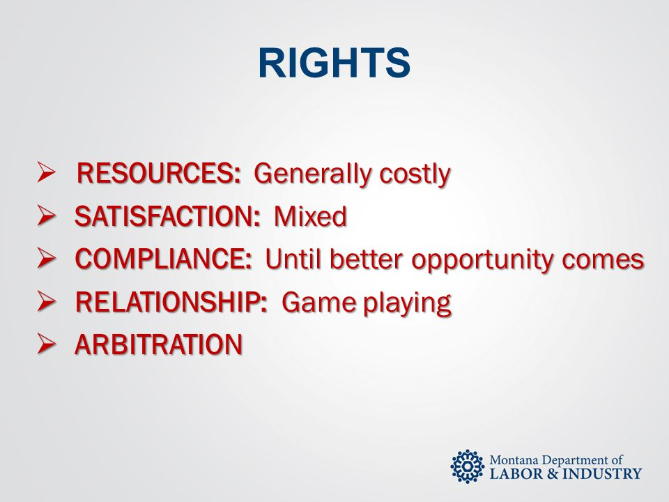 RIGHTS RESOURCES: Generally costly SATISFACTION: Mixed