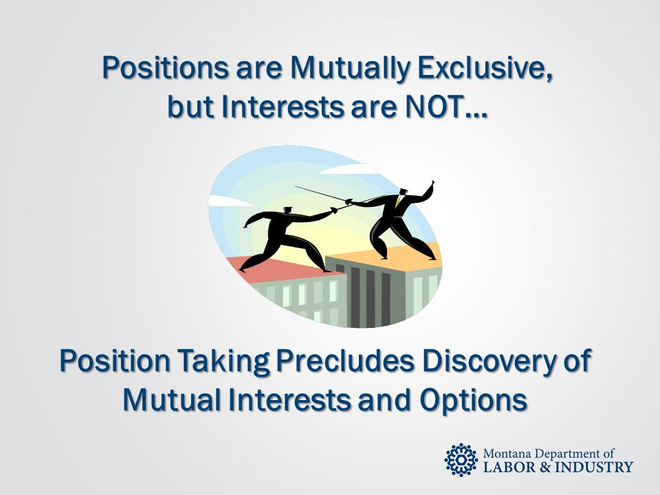 Positions are Mutually Exclusive, but Interests are NOT…