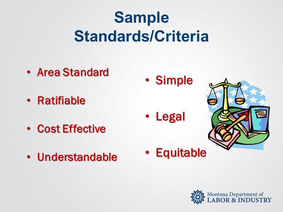 Sample Standards/Criteria