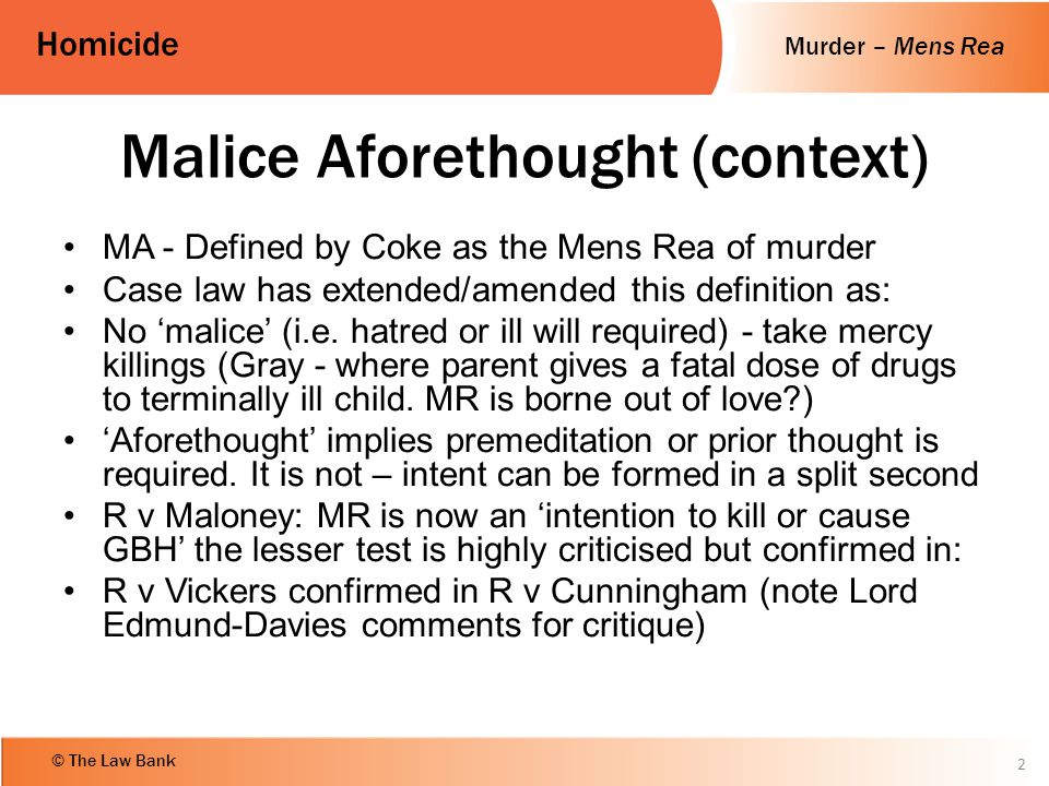 Malice Aforethought (context)
