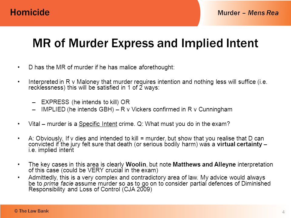 MR of Murder Express and Implied Intent