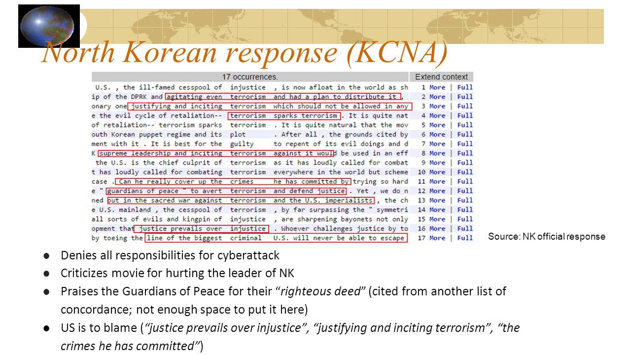 North Korean response (KCNA)