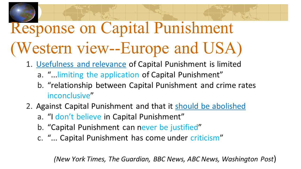 Response on Capital Punishment (Western view--Europe and USA)