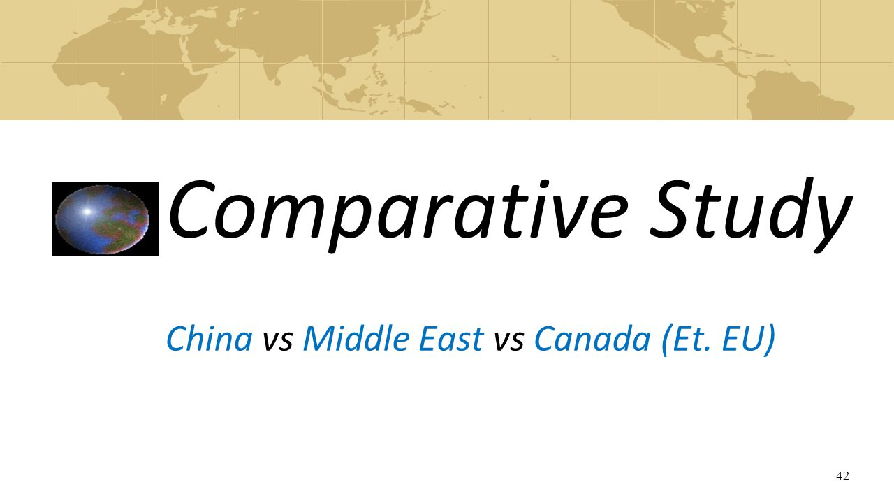 Comparative Study China vs Middle East vs Canada (Et. EU)