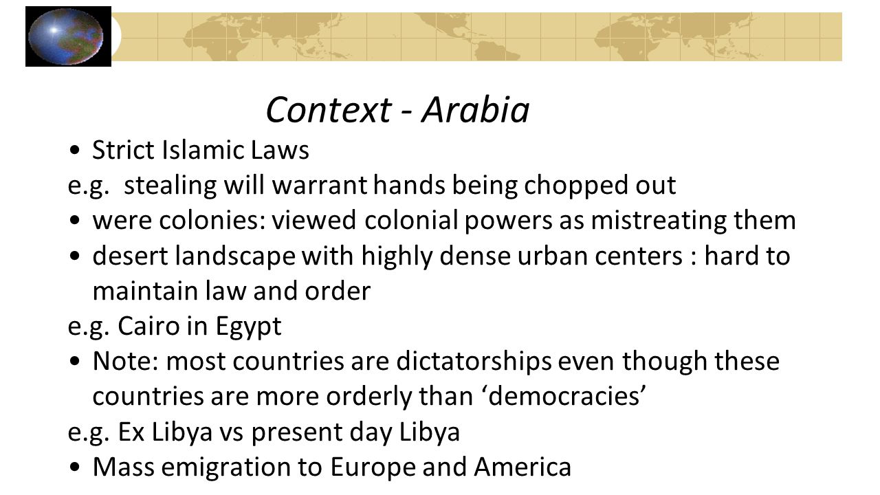 Context - Arabia Strict Islamic Laws
