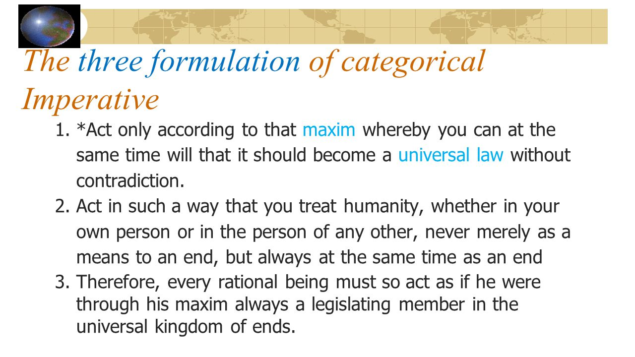 The three formulation of categorical Imperative
