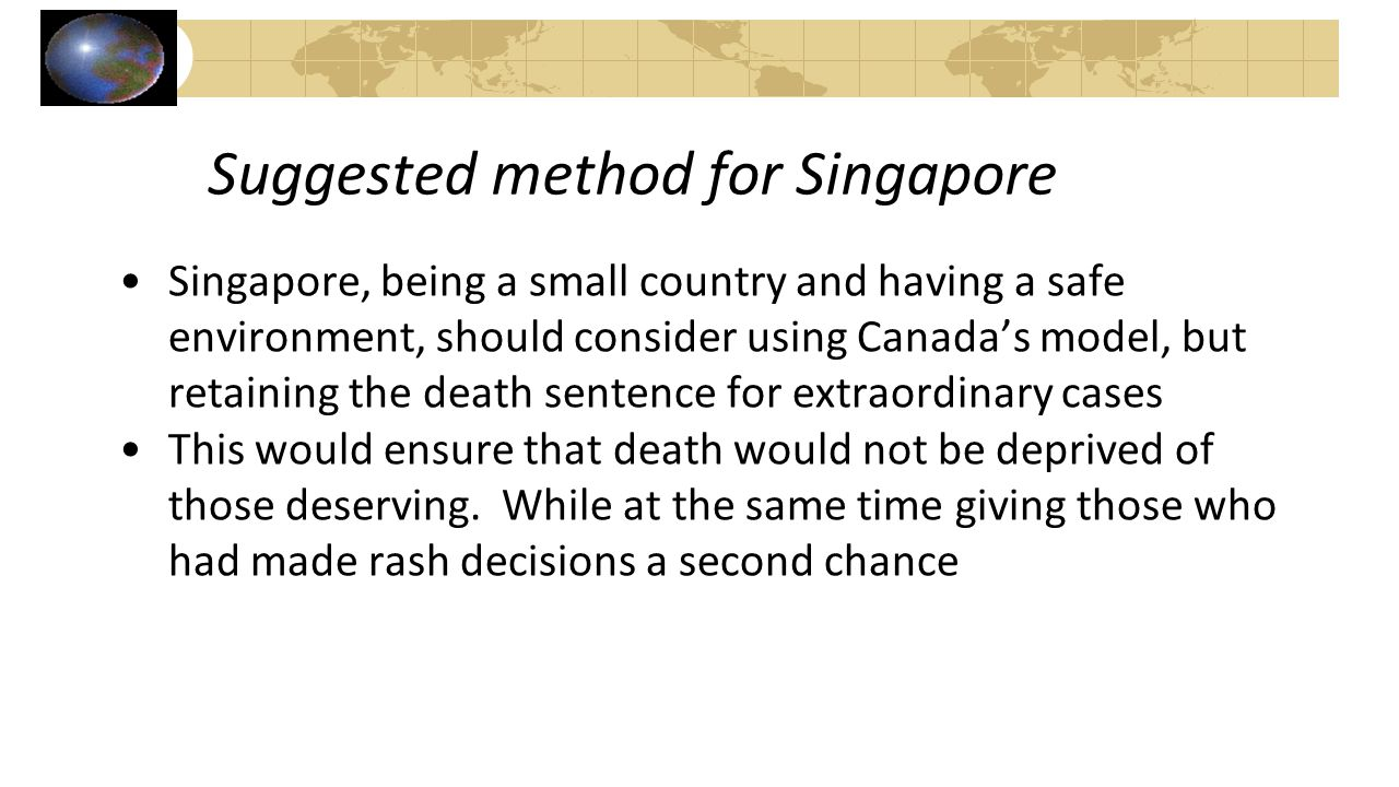 Suggested method for Singapore