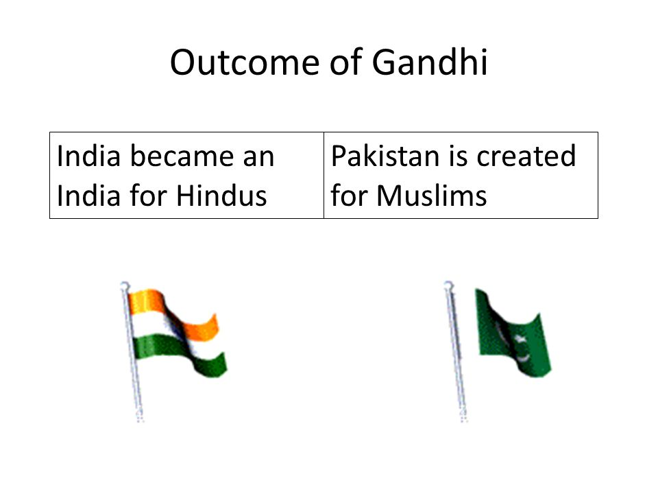 Outcome of Gandhi India became an India for Hindus