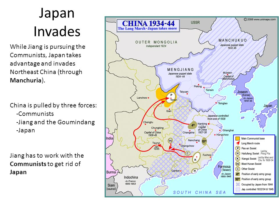 Japan Invades While Jiang is pursuing the Communists, Japan takes advantage and invades Northeast China (through Manchuria).