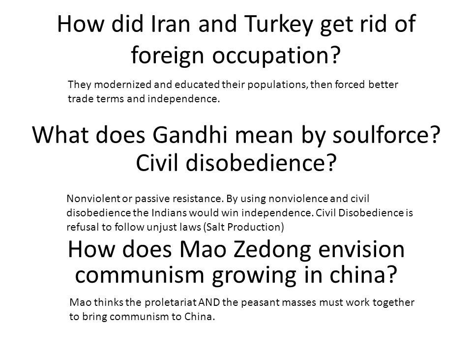 How did Iran and Turkey get rid of foreign occupation