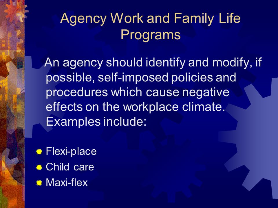 Agency Work and Family Life Programs
