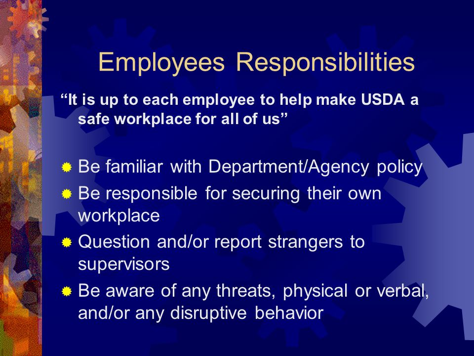 Employees Responsibilities