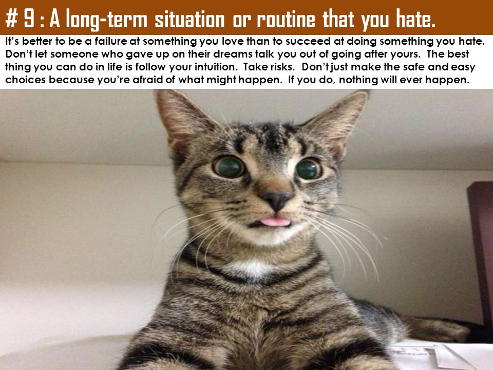 # 9 : A long-term situation or routine that you hate.