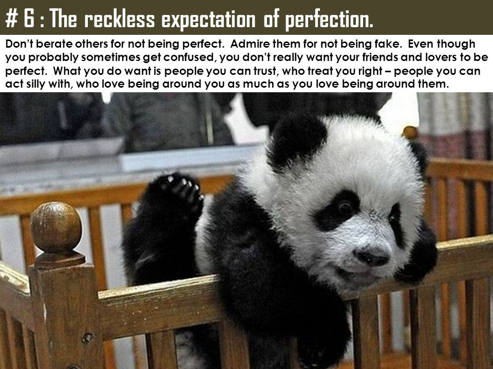 # 6 : The reckless expectation of perfection.
