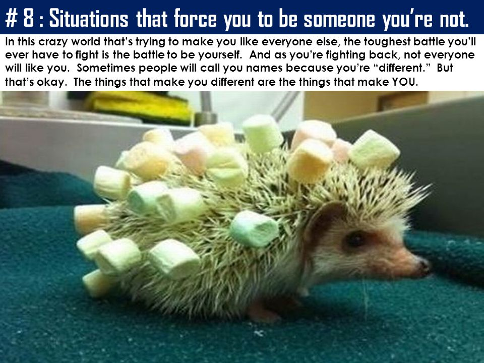 # 8 : Situations that force you to be someone you're not.