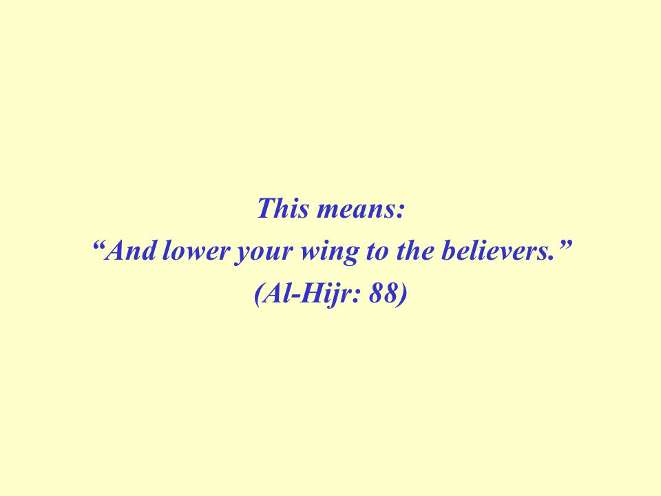 And lower your wing to the believers.
