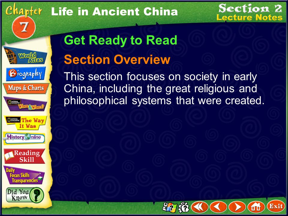 Get Ready to Read Section Overview Life in Ancient China