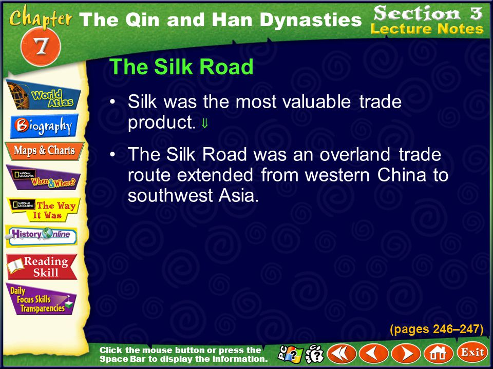 The Silk Road The Qin and Han Dynasties