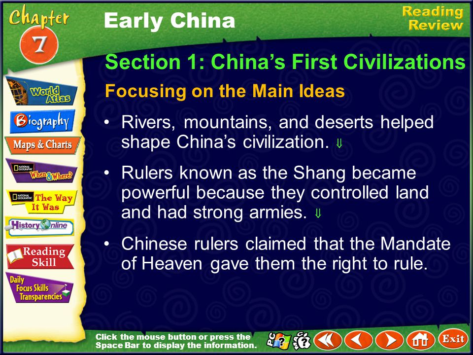 Section 1: China's First Civilizations