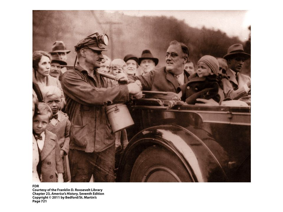 1. Examine the crowd greeting presidential candidate Franklin Roosevelt in West Virginia. In your opinion, why was Roosevelt photographed shaking the hand of a coal miner