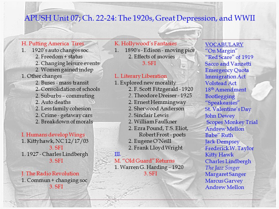 APUSH Unit 07; Ch. 22-24: The 1920s, Great Depression, and WWII
