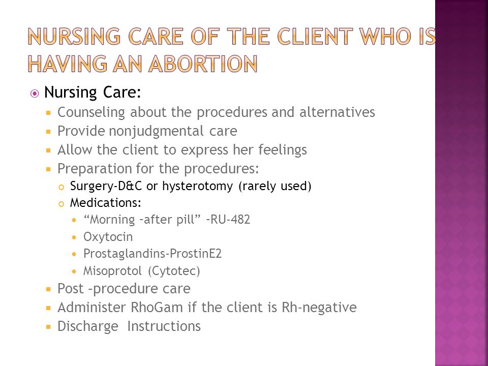 NURSING CARE of the CLIENT who is having an Abortion