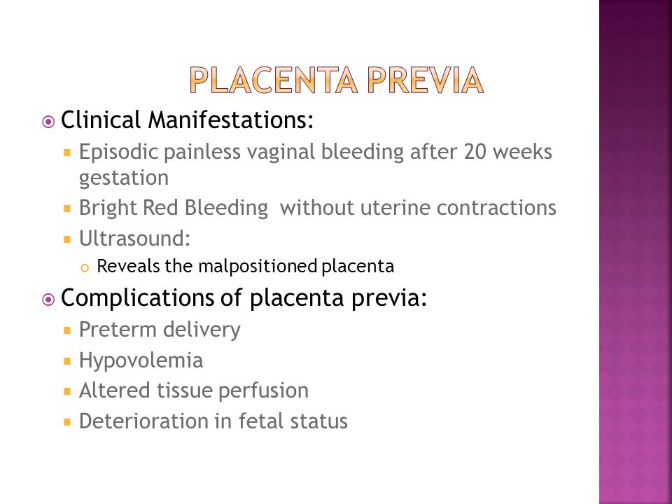 Placenta Previa Clinical Manifestations: