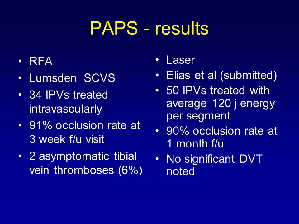 PAPS - results RFA Lumsden SCVS 34 IPVs treated intravascularly