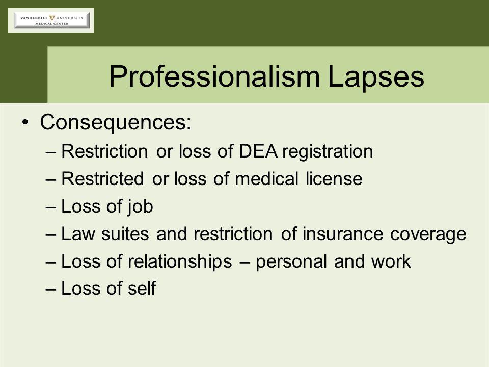 Professionalism Lapses