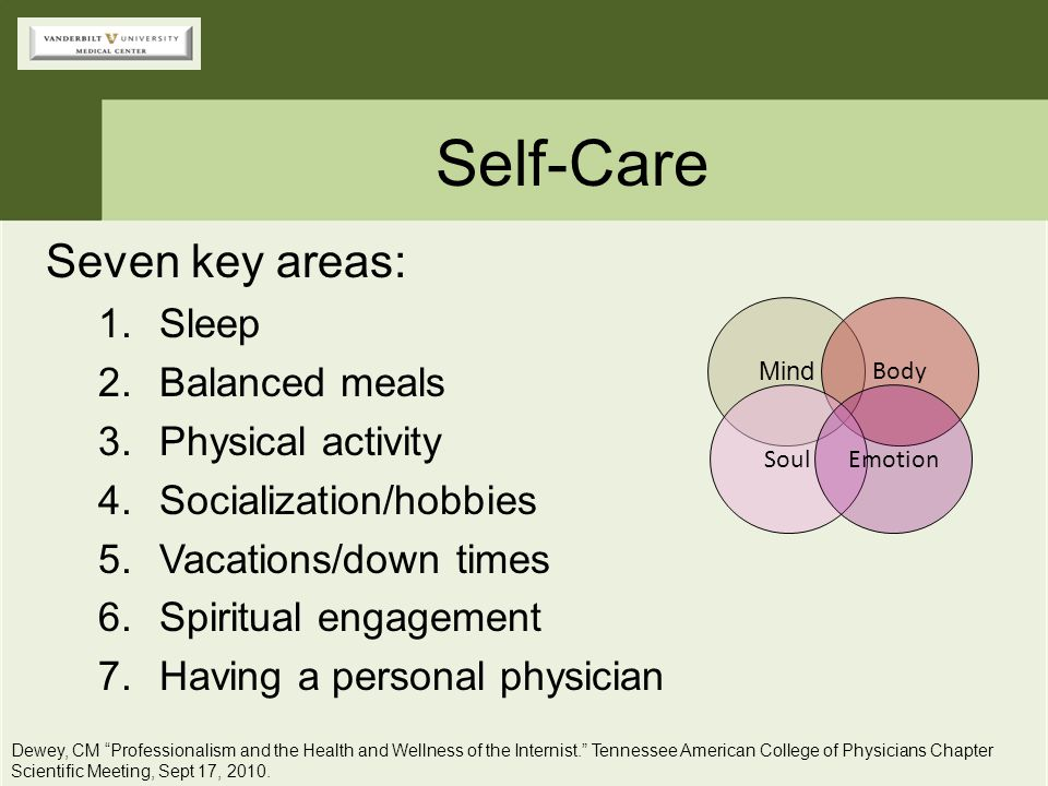 Self-Care Seven key areas: Sleep Balanced meals Physical activity
