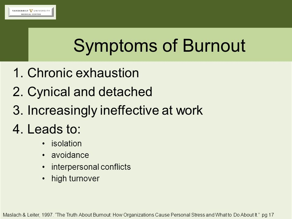 Symptoms of Burnout Chronic exhaustion Cynical and detached