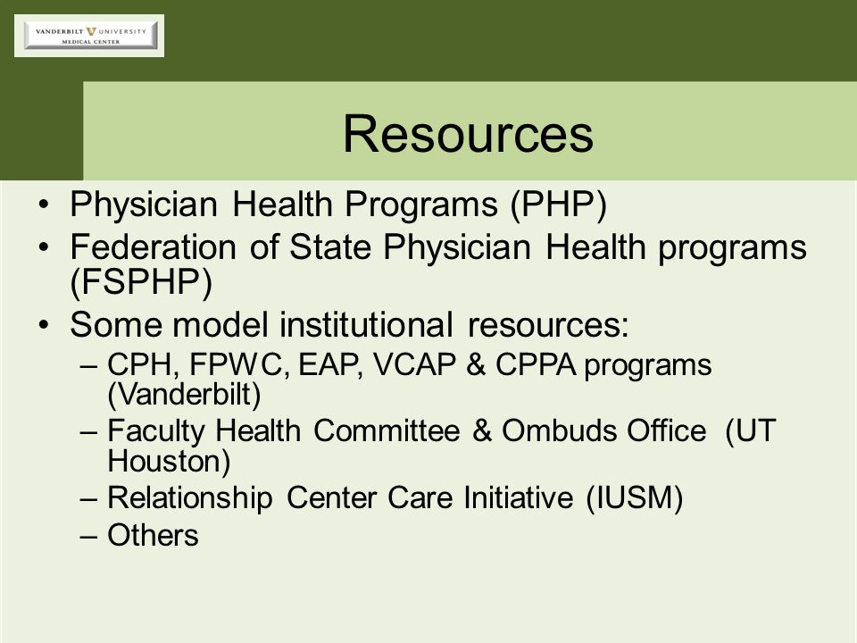 Resources Physician Health Programs (PHP)