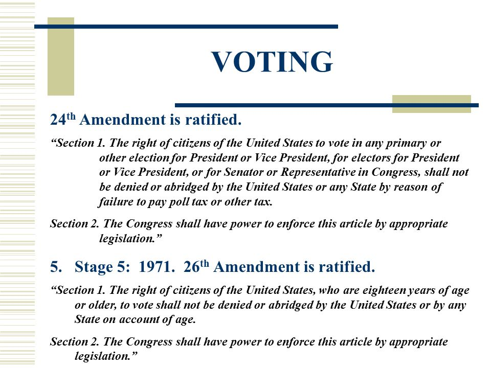 VOTING 24th Amendment is ratified.