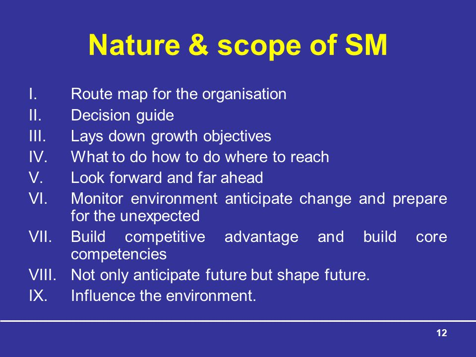 Nature & scope of SM Route map for the organisation Decision guide