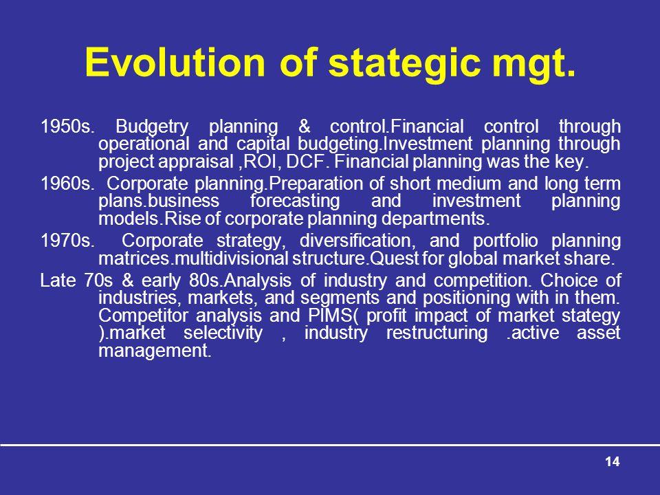 Evolution of stategic mgt.