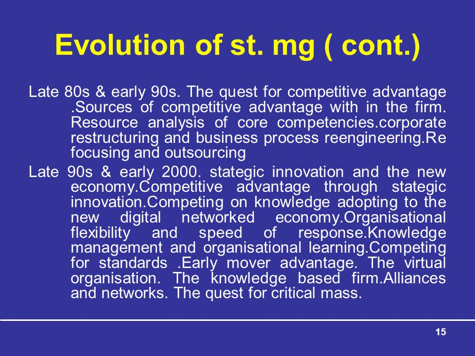 Evolution of st. mg ( cont.)
