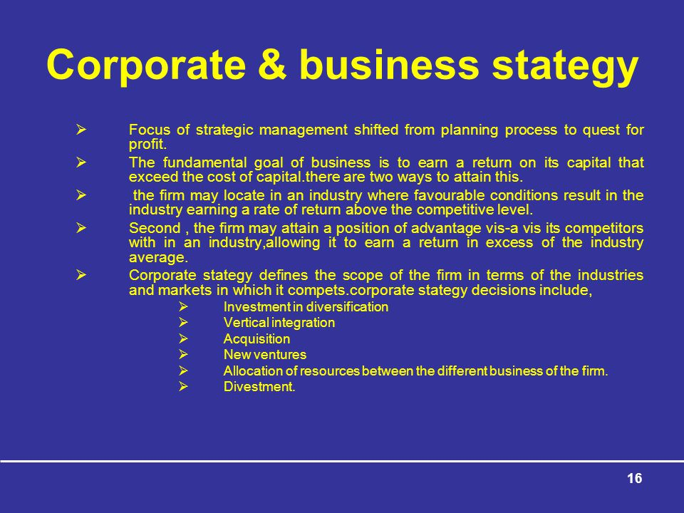 Corporate & business stategy