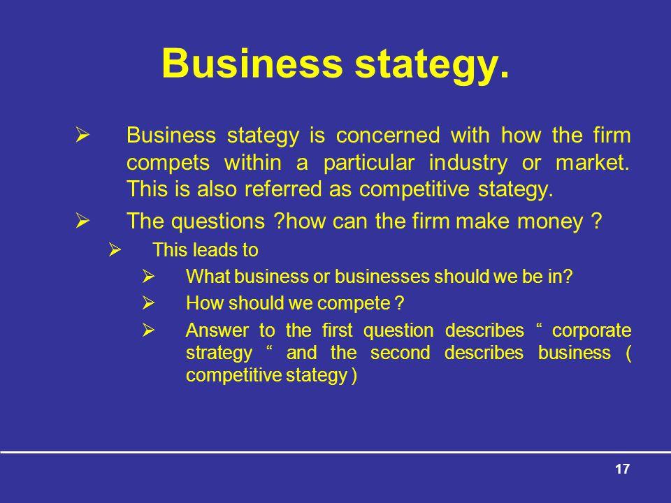 Business stategy.
