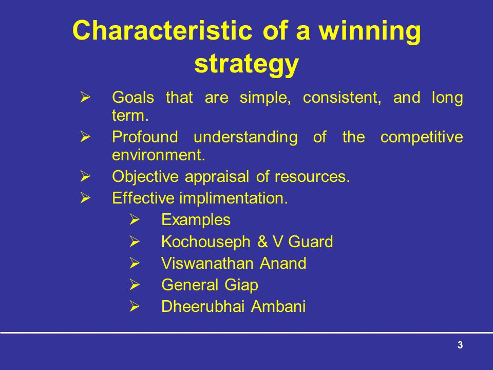 Characteristic of a winning strategy