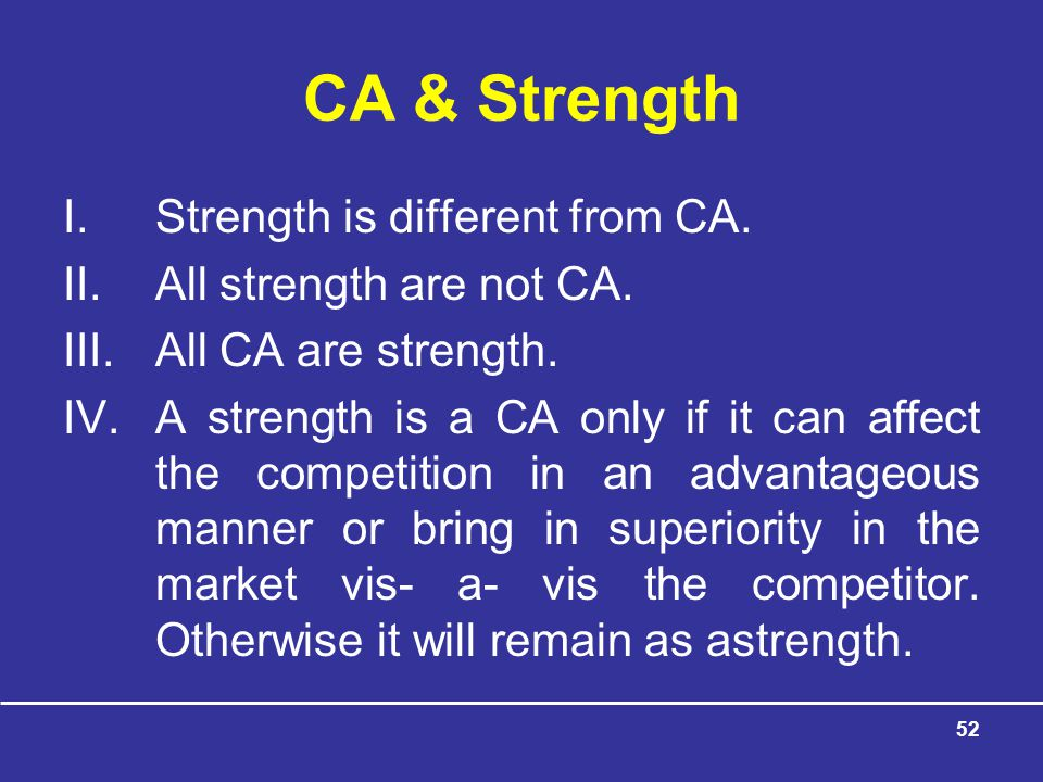 CA & Strength Strength is different from CA. All strength are not CA.