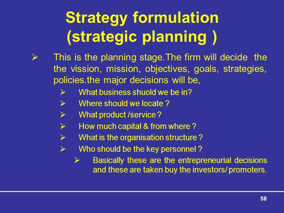 Strategy formulation (strategic planning )