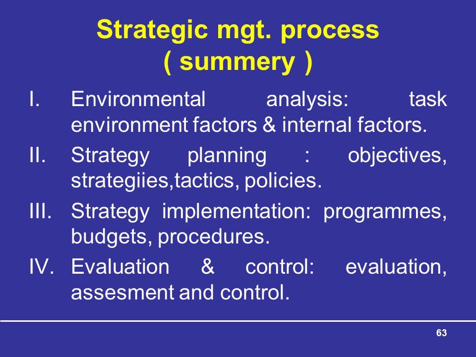 Strategic mgt. process ( summery )