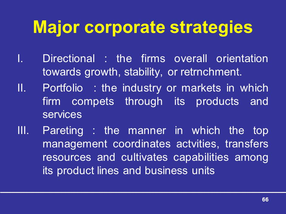 Major corporate strategies