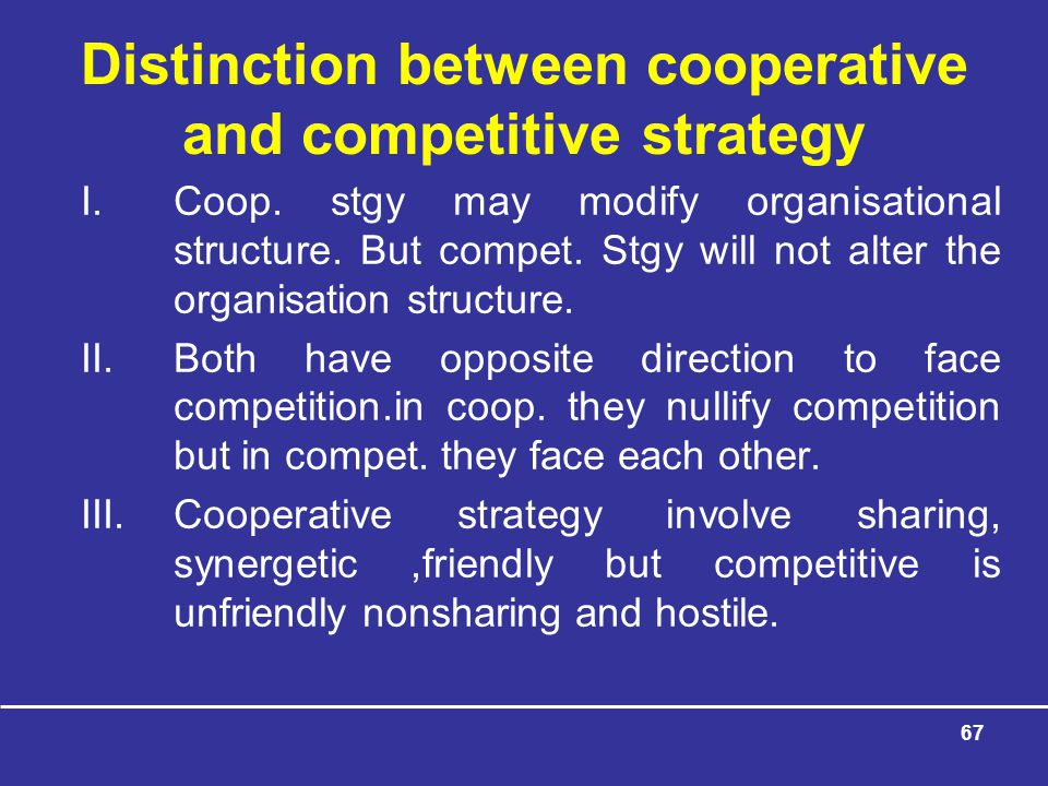 Distinction between cooperative and competitive strategy