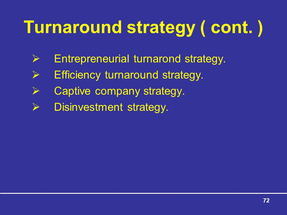 Turnaround strategy ( cont. )