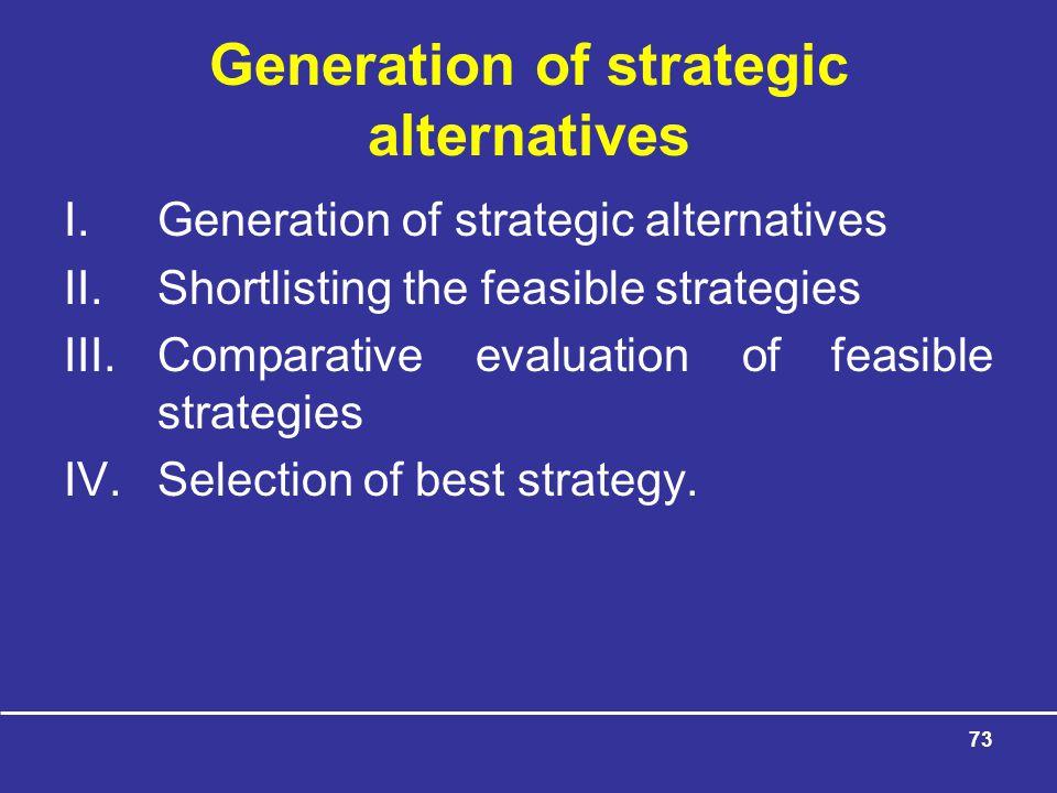 Generation of strategic alternatives