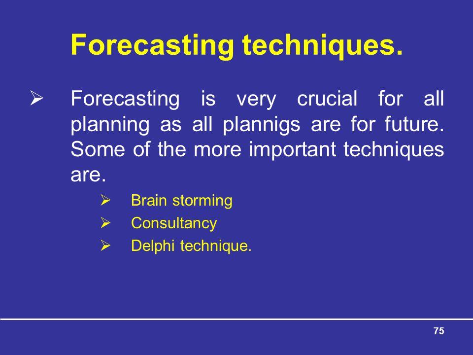 Forecasting techniques.