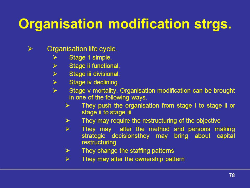 Organisation modification strgs.