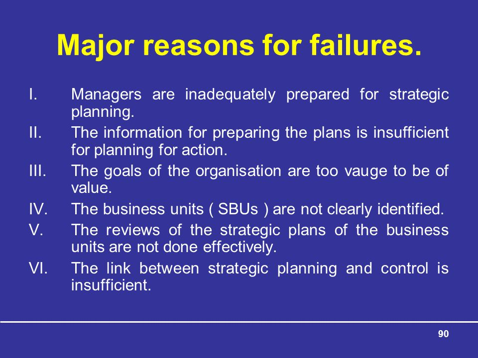 Major reasons for failures.